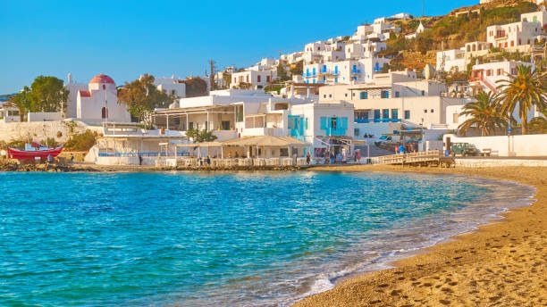 Waterfront and beach in Mykonos stock photo