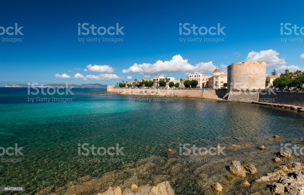 Waterfront and cityscape Alghero, Italy stock photo