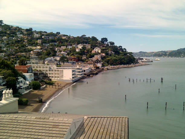 Waterfront and houses on a hillside in Sausalito stock photo