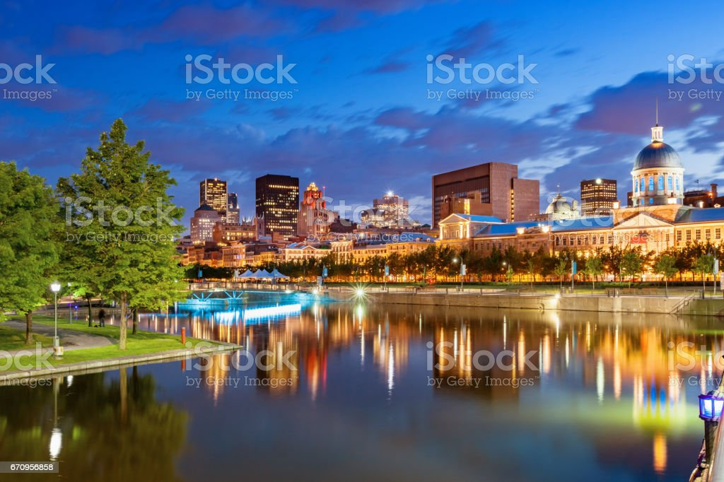 Waterfront and Skyline in Old Montreal Canada stock photo