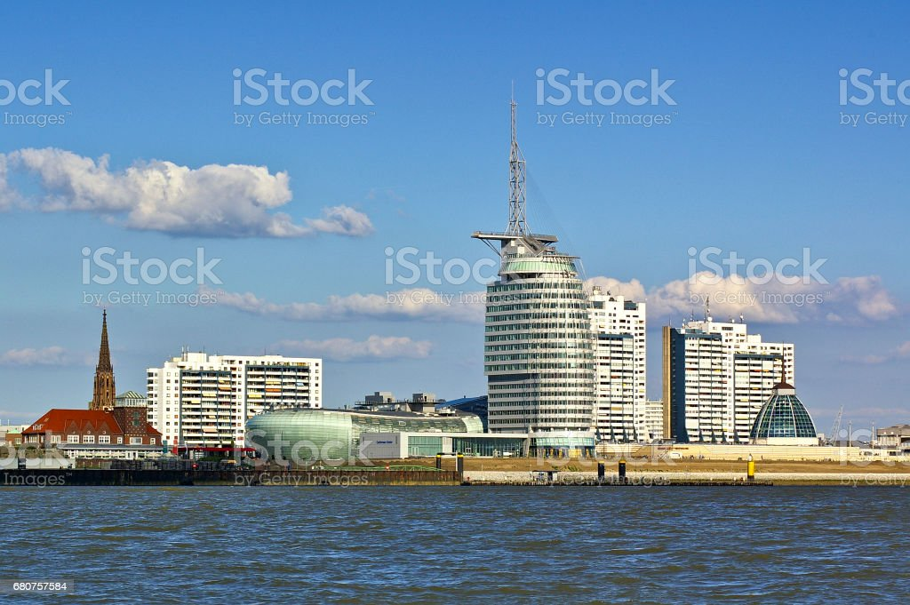 Waterfront and skyline of Bremerhaven with shopping mall, hotel, church stock photo