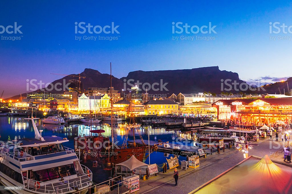 V&A Waterfront and Table Mountain in Cape Town, South Africa. stock photo