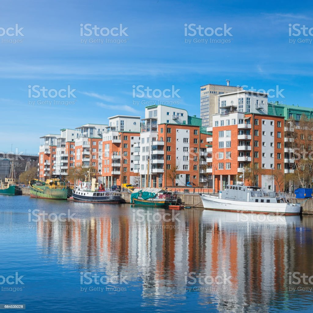 Waterfront apartment buildings stock photo