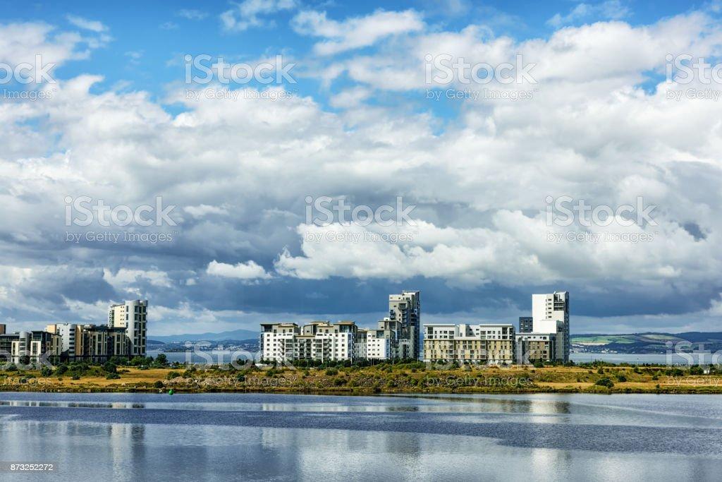 Waterfront Apartments, Newhaven, Edinburgh, Scotland. Viewed from the Entrance Basin, Edinburgh docks. stock photo