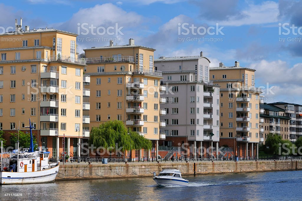 Waterfront apartments royalty-free stock photo
