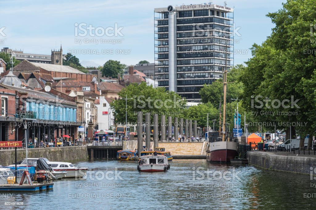 Waterfront area of Bristol with boats moored up stock photo