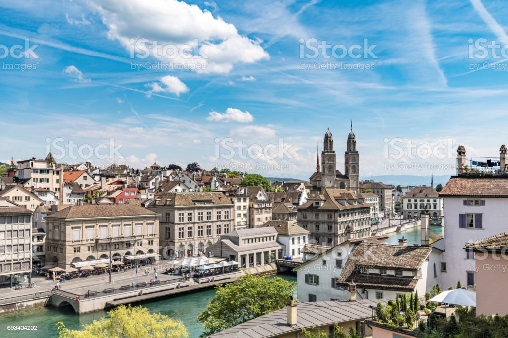 Waterfront area of Zurich with skyline stock photo
