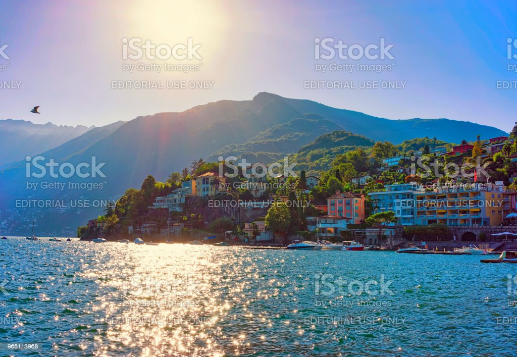 Waterfront Ascona in Ticino in Switzerland CH royalty-free stock photo