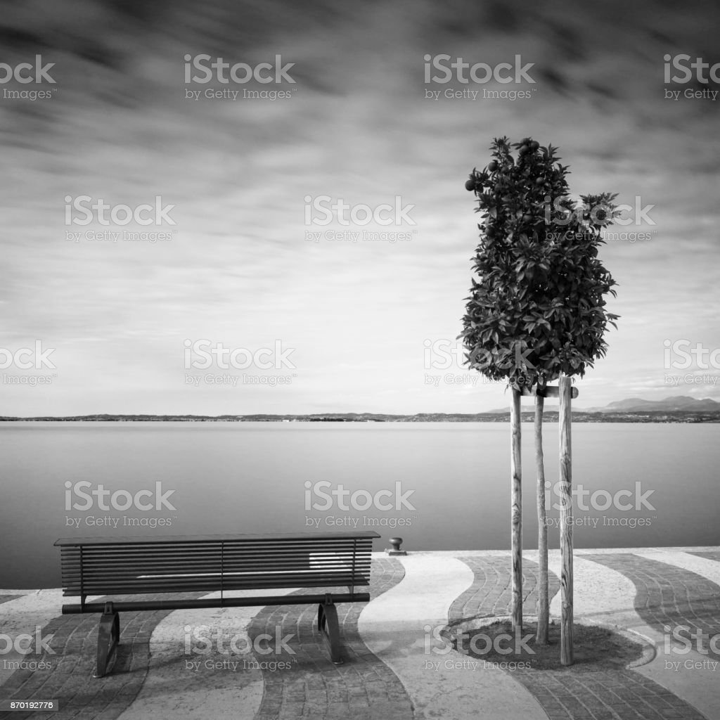 Waterfront at lake Gardasee in Italy, Europe, in autumn stock photo