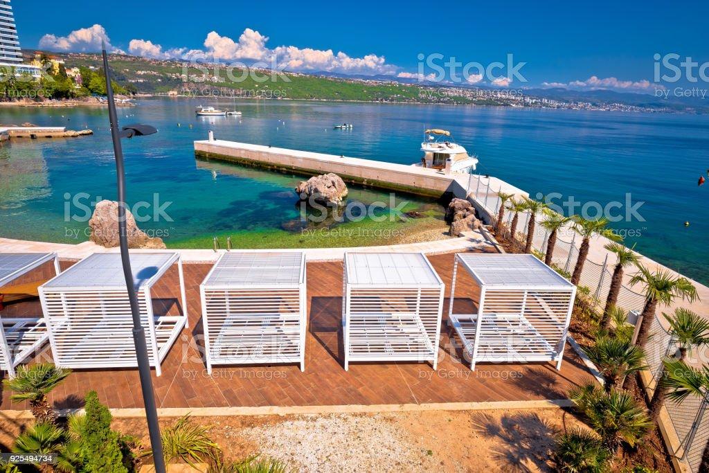 Waterfront beach and Lungomare walkway in Opatija, Kvarner bay, Croatia stock photo