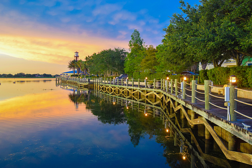 Waterfront Boardwalk at Sunset in The Villages, Florida