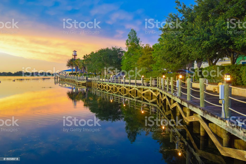 Waterfront Boardwalk at Sunset in The Villages, Florida stock photo