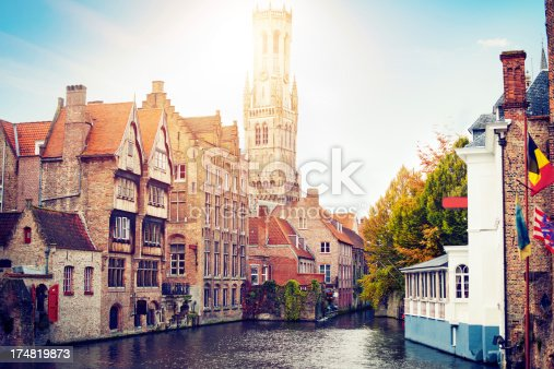 View to the canals and Bell Tower of Bruges