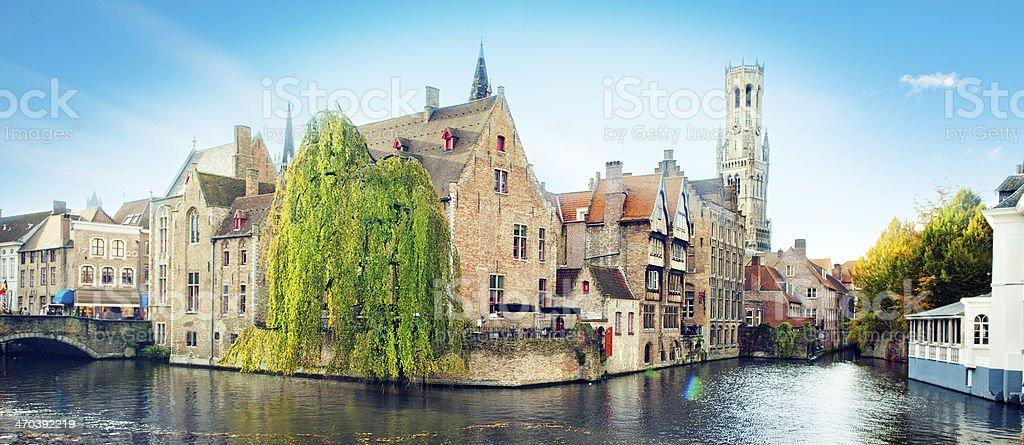 Waterfront Buildings in Bruges, Belgium stock photo