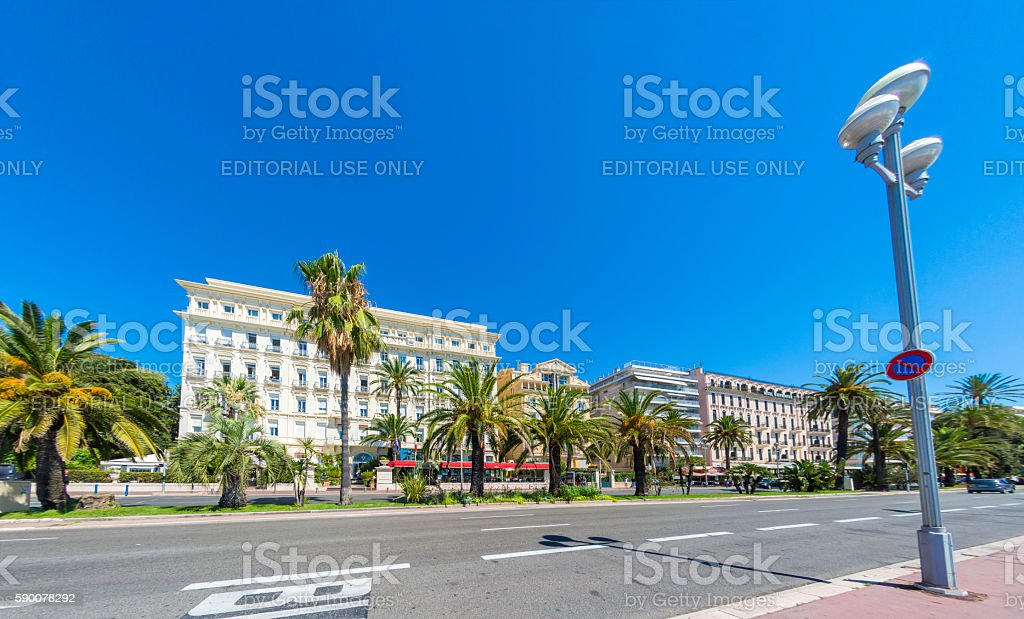 Waterfront buildings in Nice, France stock photo