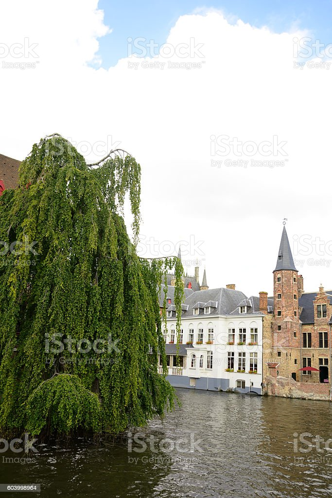 Waterfront Buildings in the city of Bruges Belgium stock photo