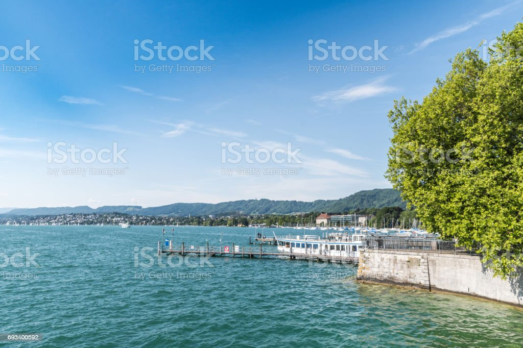 Waterfront by Lake Zurich stock photo