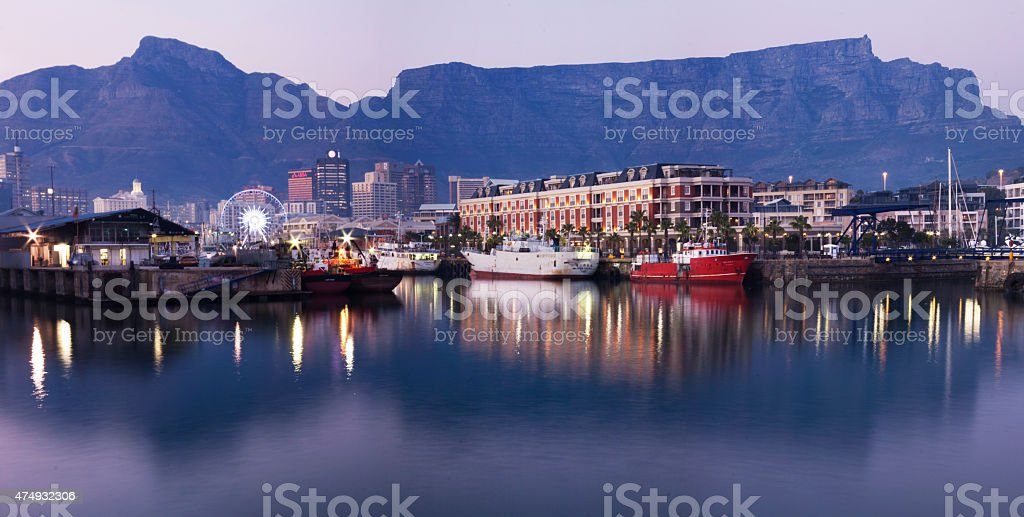 Waterfront Cape Town South Africa evening stock photo
