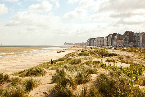 dunes y de la playa frente al mar, cerca de Zeebrugge - foto de stock
