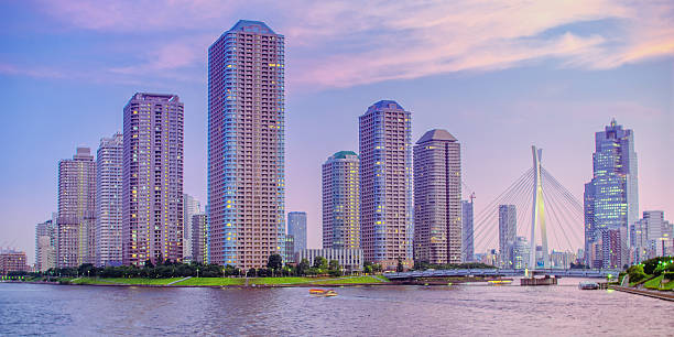Waterfront Highrise Buildings in Tokyo stock photo