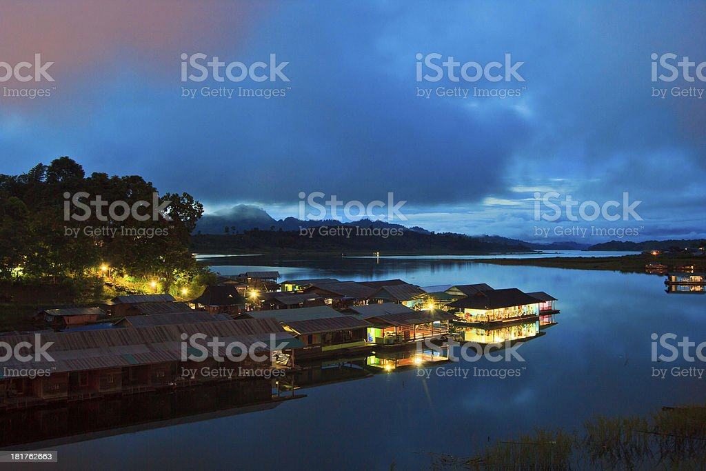 Waterfront home and raft thailand royalty-free stock photo