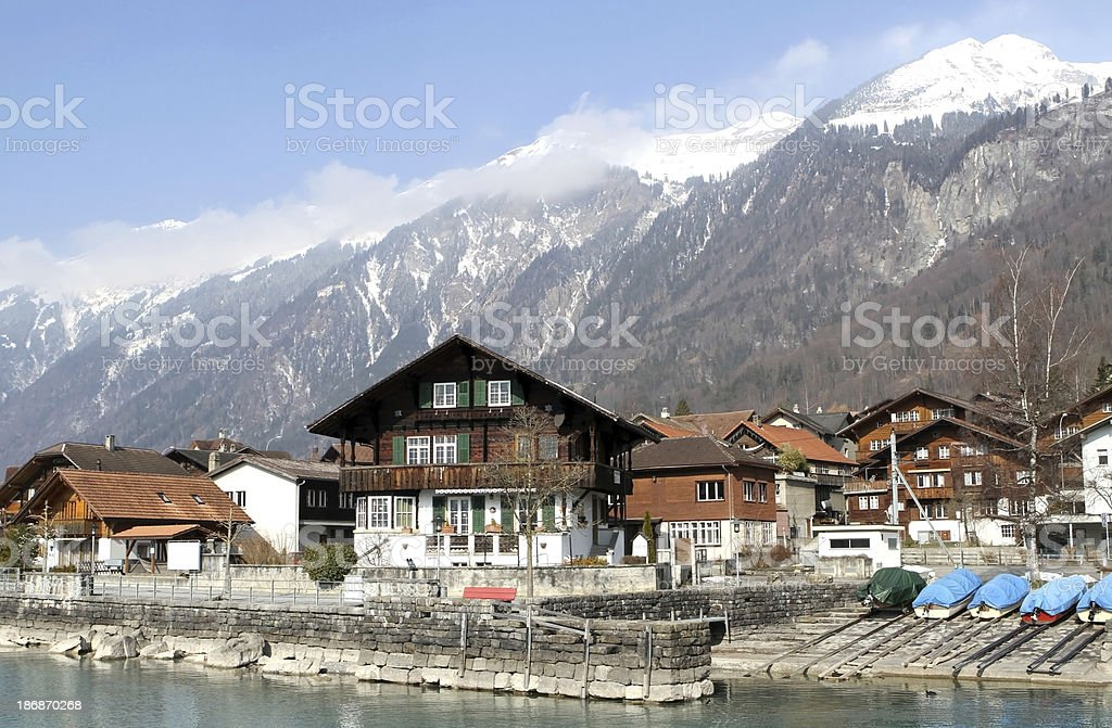 Waterfront homes at Brienz, Berne Canton, Switzerland royalty-free stock photo
