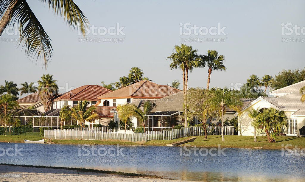 Waterfront homes royalty-free stock photo