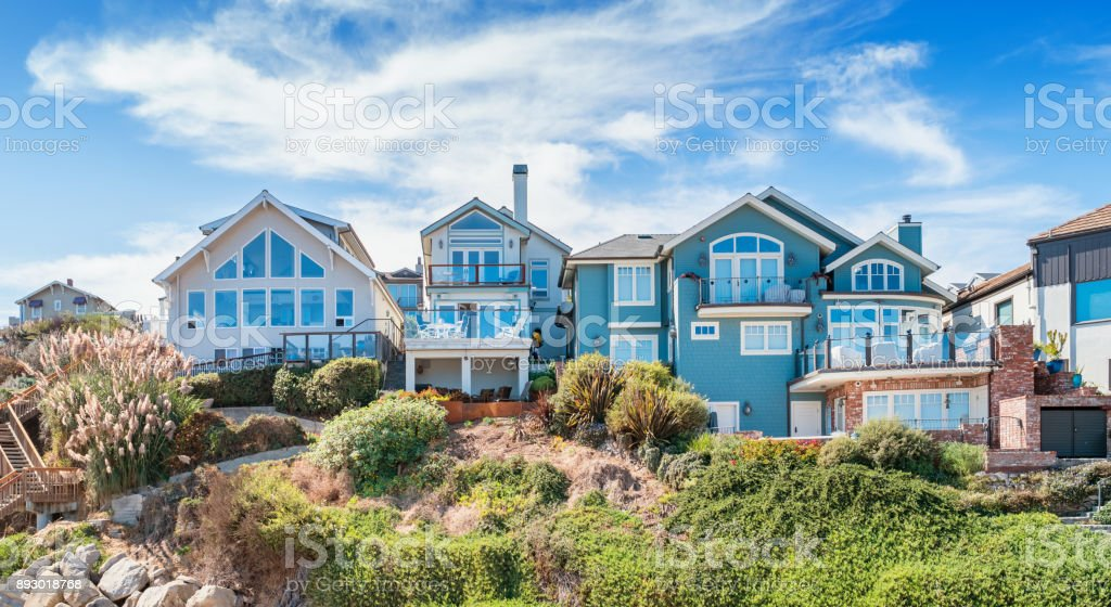 Waterfront houses in Capitola California USA stock photo