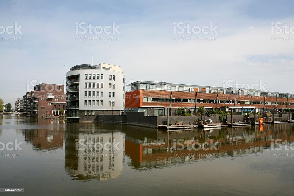 waterfront houses royalty-free stock photo