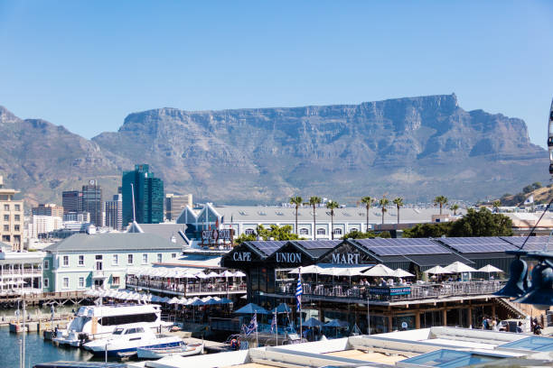 Waterfront in Cape Town, South Africa, with table mountain stock photo
