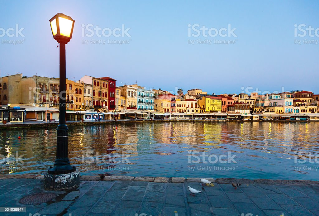 Waterfront in Chania, Greece stock photo