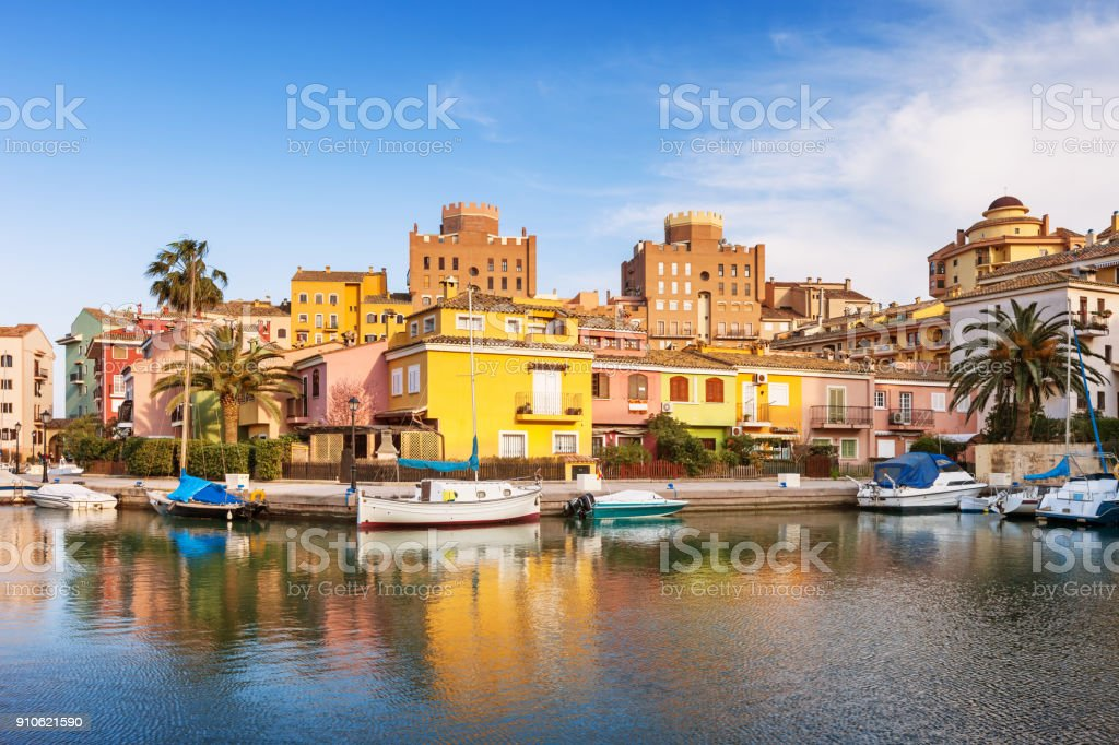 Waterfront in Port Saplaya Valencia Spain stock photo