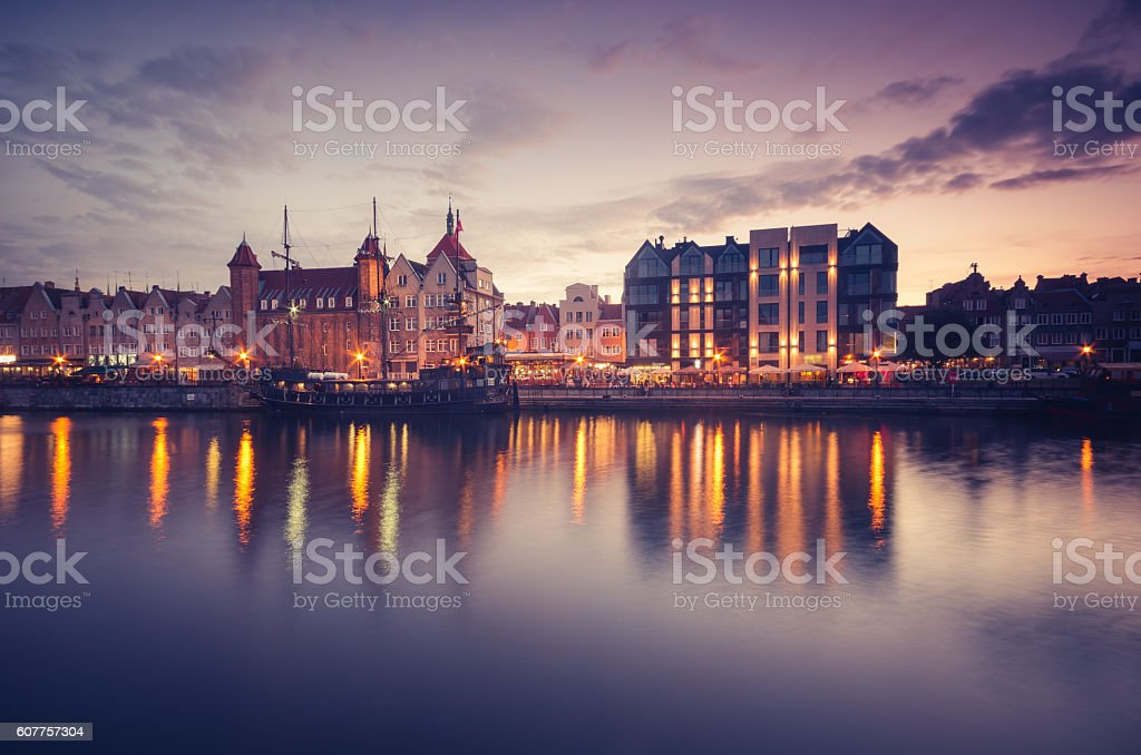 Waterfront in the evening with moored ship, Gdansk, Poland – Foto