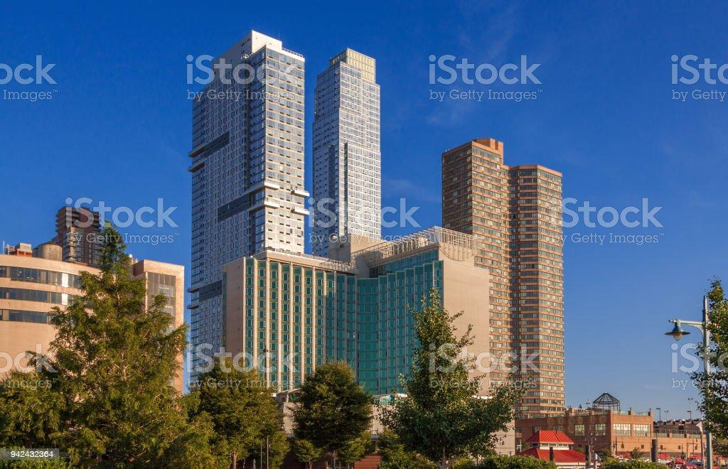 Waterfront Luxury Condominium Towers Facing Hudson River in Midtown Manhattan, New York City. stock photo