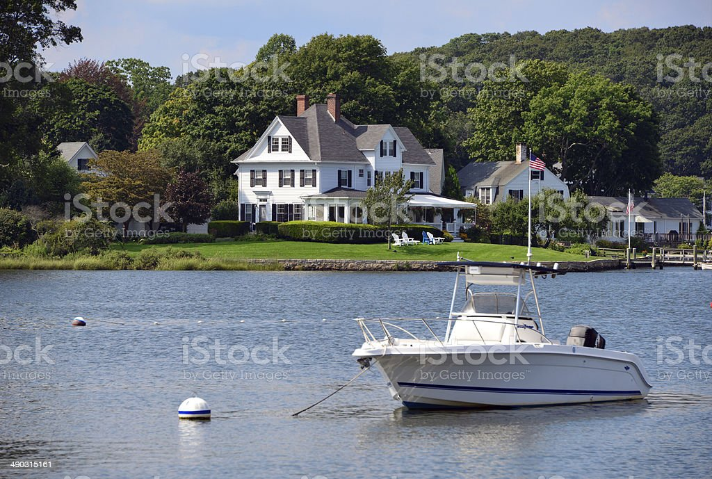 Waterfront luxury house stock photo