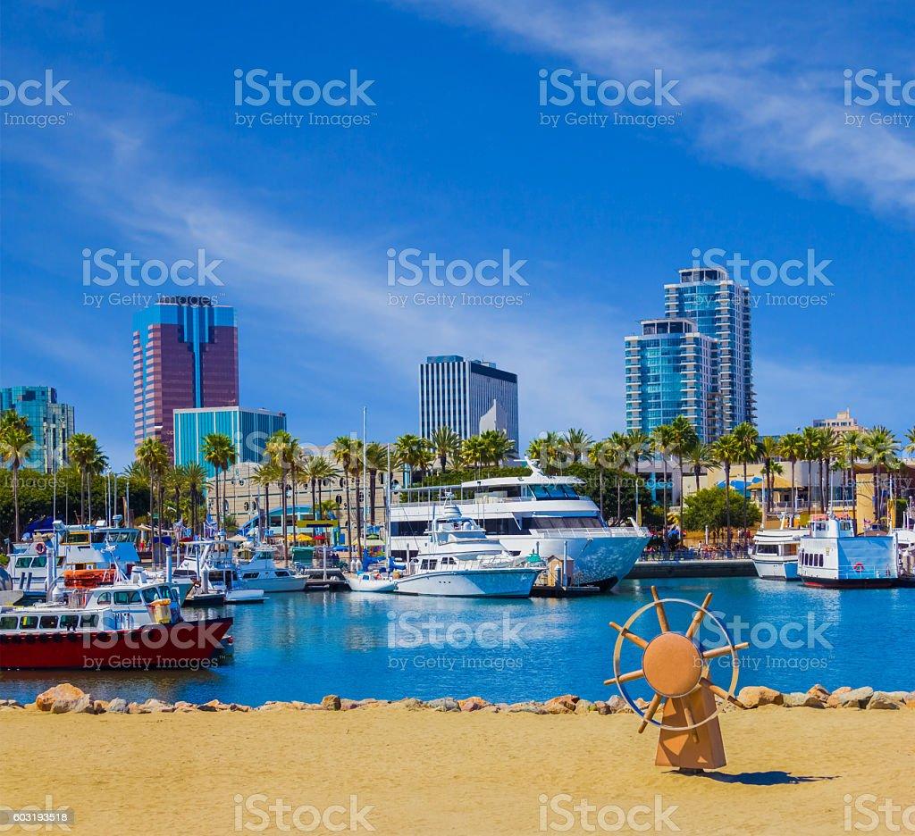 Waterfront marina with skyline of Long Beach , CA  (P) stock photo