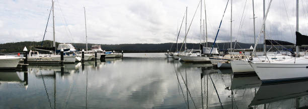 Waterfront maritime marina/dock with boats. stock photo