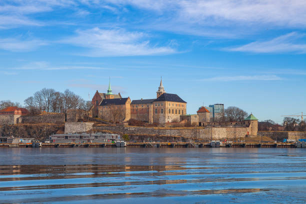 Waterfront of Akershus fortress, Oslo, Norway stock photo