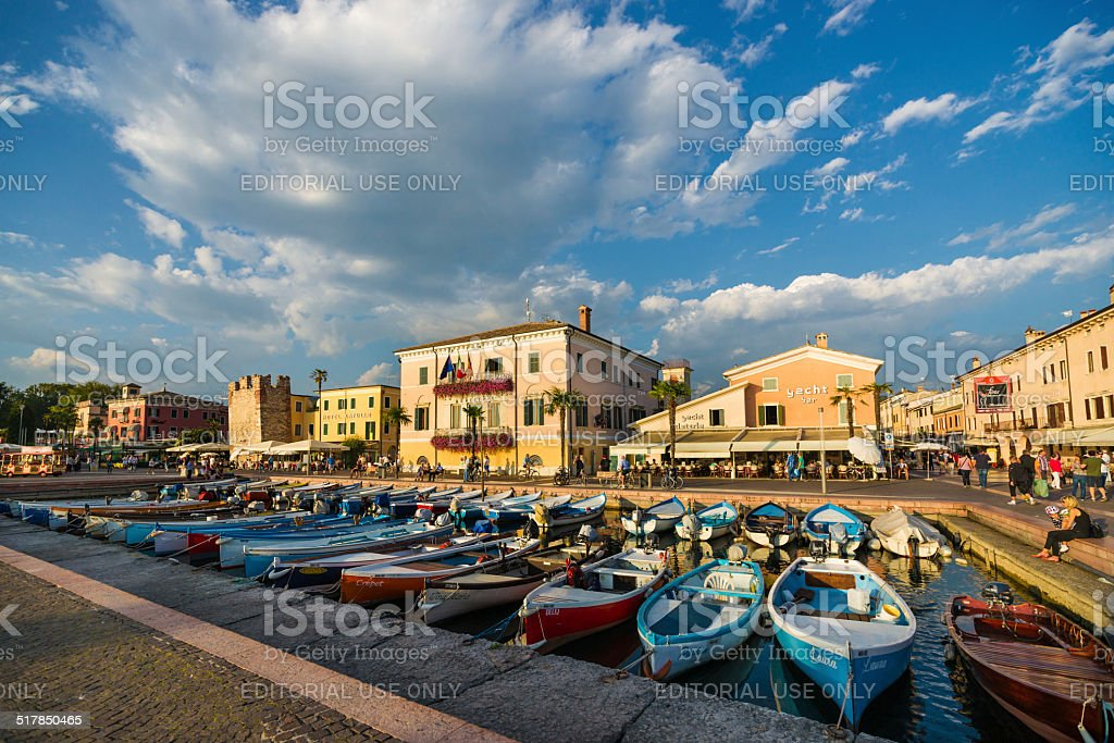 Waterfront of Bardolino on Lake Garda in Italy stock photo