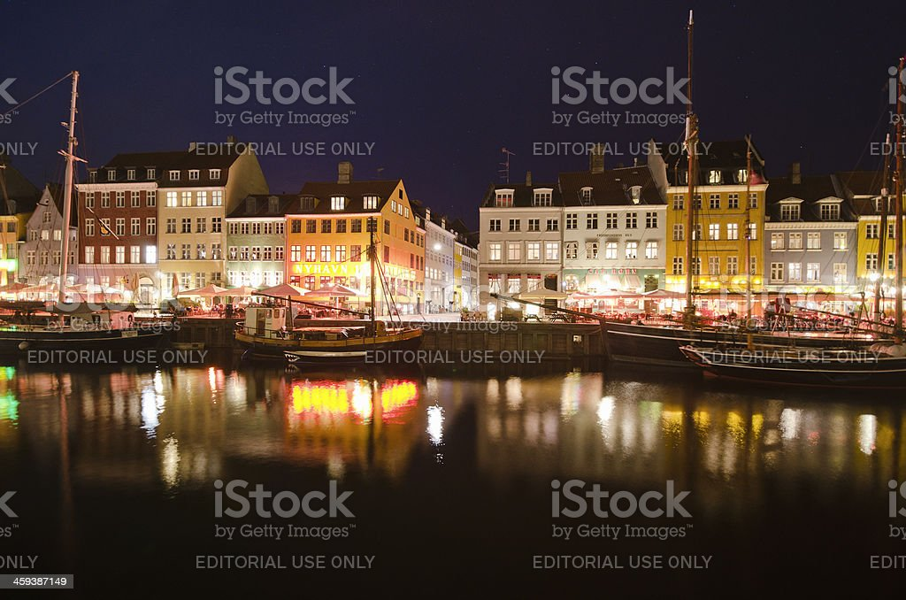 Waterfront of Building exterior structure in a Nyhavn - Copenhagen royalty-free stock photo