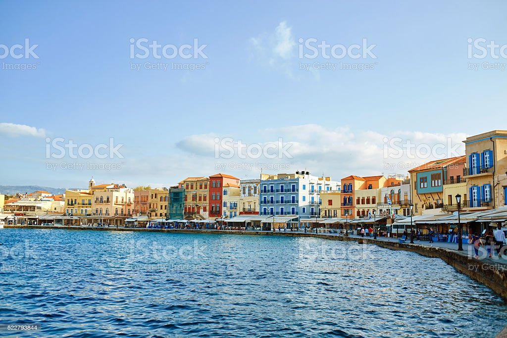 waterfront of Chania stock photo