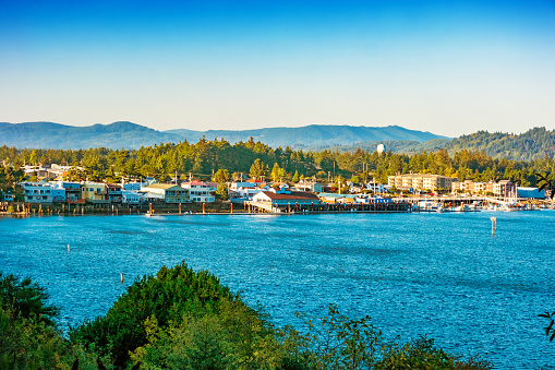 Waterfront of Florence and the Siuslaw River Oregon USA
