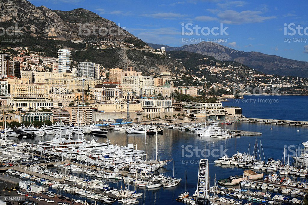 Waterfront of Monte Carlo in Monaco royalty-free stock photo