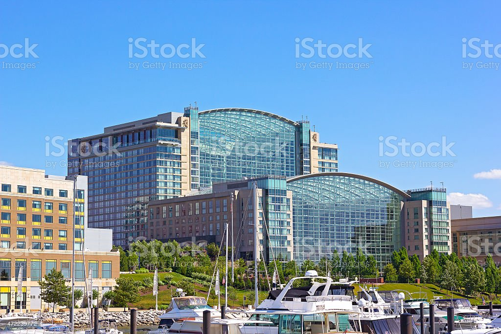Waterfront of National Harbor in summer, Maryland, USA. stock photo