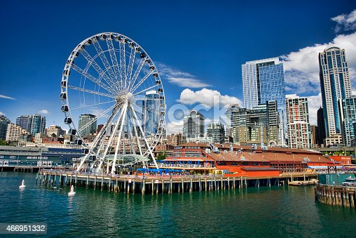 A sunny early summer day in Seattle, Washington.