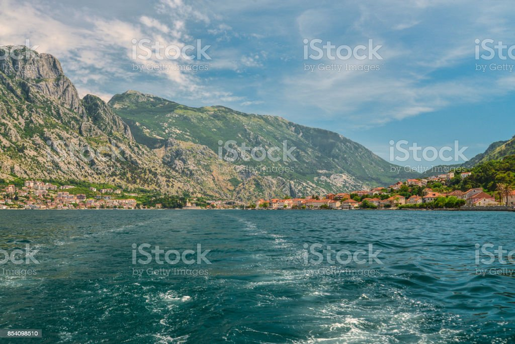 Waterfront of small town Prcanj stock photo