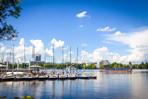 Waterfront of the Aussenalster Lake in Hamburg, Germany
