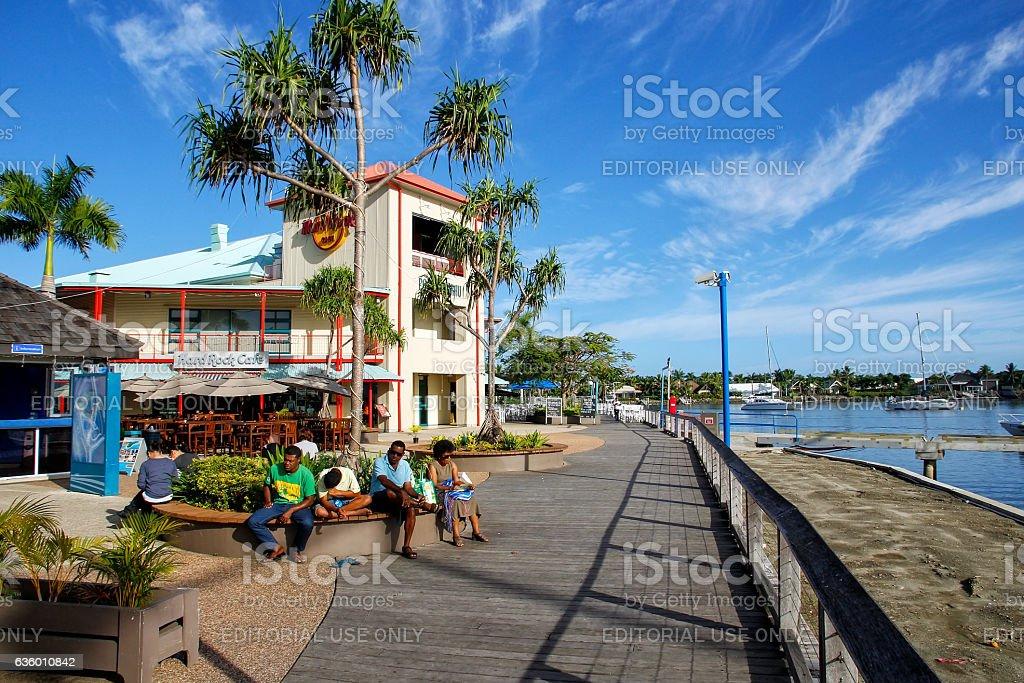 Waterfront on Denarau Island, Viti Levu, Fiji stock photo