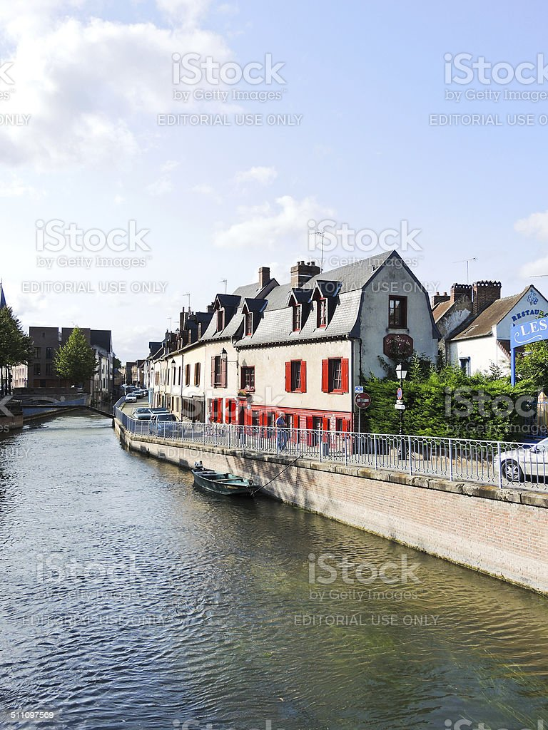 waterfront on rue d'Engoulvent in Amiens city stock photo