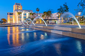 Stock photograph of fountain in Waterfront Park, downtown San Diego, California, USA at twilight.